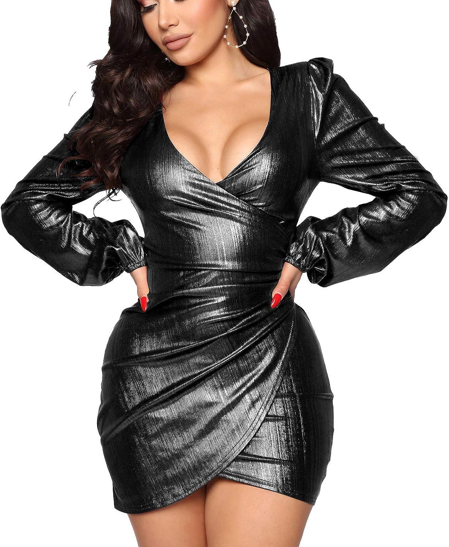 Women's Sexy V Choice Neck Dresses Breathab Long Award-winning store Bodycon Sleeve Sparkly