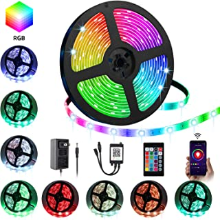 LED Strip Lights, YLCVBUD 16.4ft 5050 SMD RGB Rope Lights Color Changing Lights with APP Controller Sync to Music Apply for Home Kitchen Bedroom Party TV Decoration