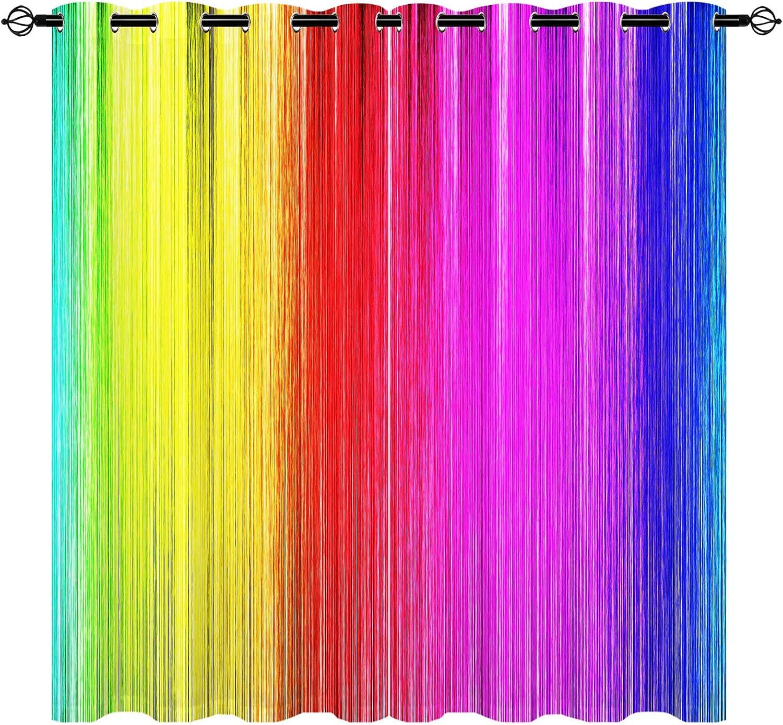 セール価格 気質アップ Rainbow Curtains Gradient 3D Colorful Pattern 2