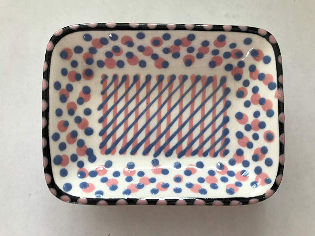 Handmade Ceramic Emma Trinket Dish Style D Pink Purple Dots Imported From South Africa