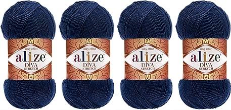 92% Microfiber Acrylic, 8% Pbt Elastic Stretch Yarn Alize Diva Stretch Thread Crochet Hand Knitting Turkish Yarn Lot of 4skn 400gr 1752yds (361- Navy Blue)