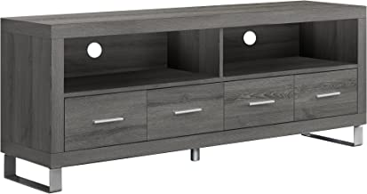 Monarch Specialties I 2517, TV Console with 4 Drawers, Dark Taupe Reclaimed-Look, 60