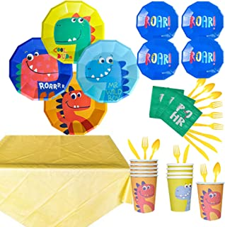 118 Pieces Dinosaur Party Supplies Pack Disposable Tableware Serves 16 Birthday Party Decoration Set Value Pack Napkins Pl...