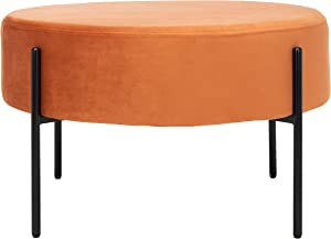 Safavieh Home Lisbon Glam Velvet Round Cocktail Ottoman, Sienna Orange-Brown/Black