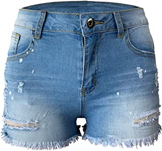 Aodrusa Womens Ripped Denim Shorts Mid Rise Body Enhancing Distressed Short Jeans