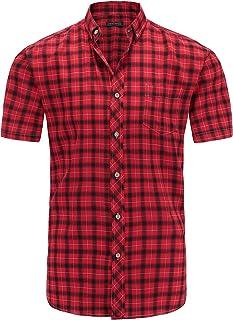 Jandukar Short Sleeve Plaid Shirt for Men Button Down Shirts
