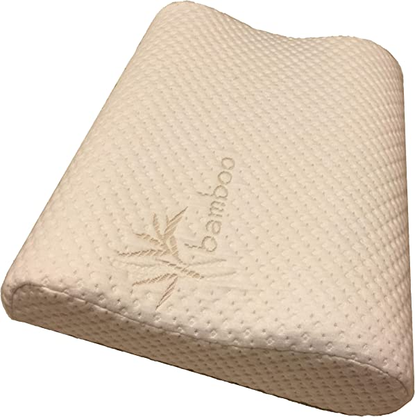 Thin Profile Memory Foam Neck Pillow Orthopedic Contour Chiropractor Designed And Approved Soft Bamboo Cover Made In USA Great For Neck Pain CertiPUR US Thin Profile