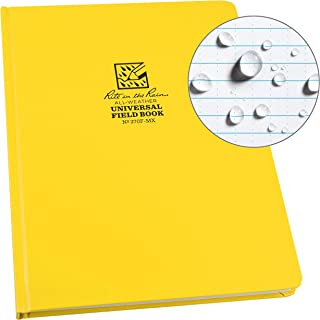 "Rite in the Rain Weatherproof Hard Cover Notebook, 8.75"" x 11.25"", Yellow Cover, Universal Pattern (No. 370F-MX)"