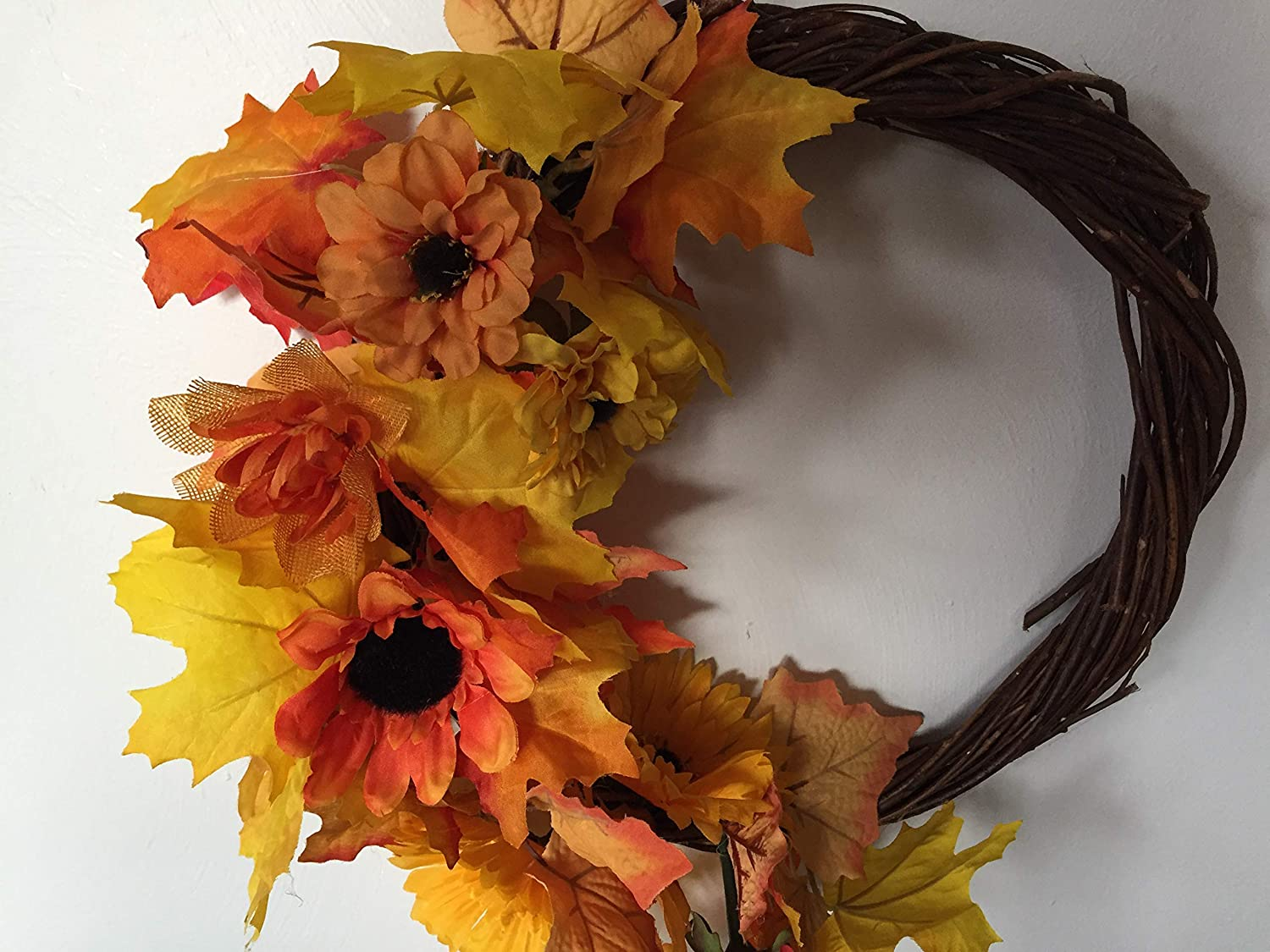 Fall and Spring Sunflower Safety trust maple mini wreath leaf 12