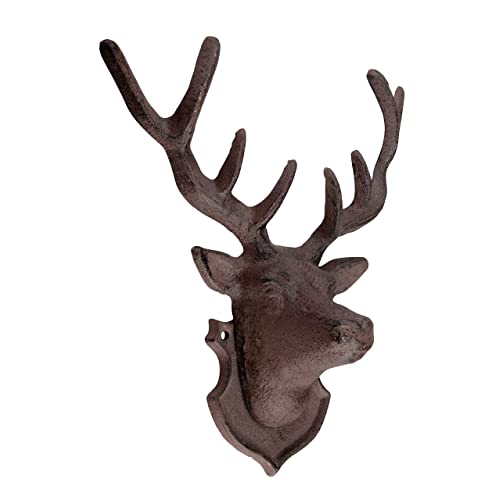Stags Head Wall Decoration, Cast Iron Garden Ornament