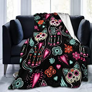 Ouqiuwa Day of The Dead Cat Kitten Sugar Skull Throw Blanket Soft Lightweight Durable Flannel Fleece Blanket 50