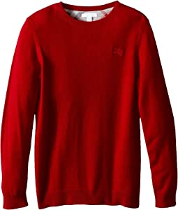 Burberry Kids - Long Sleeve Crew Neck with Check Elbow Patches (Little Kids/Big Kids)