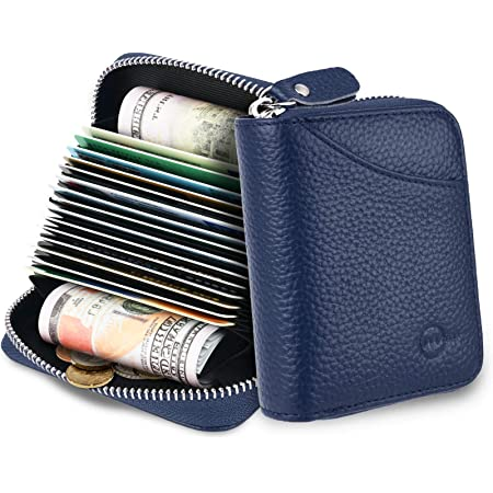 MUCO Credit Card Holder RFID Blocking Genuine Leather Credit Card Wallet Purse with Zipper for Women Men (Blue)