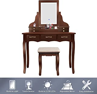 ENSTVER Led Vanity Beauty Station,7 Drawers Makeup Dressing Table with Cushioned Stool Set-Espresso