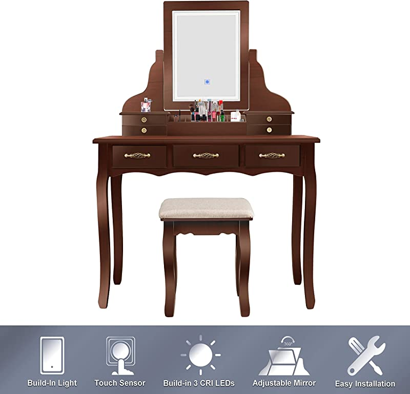 ENSTVER Led Vanity Beauty Station 7 Drawers Makeup Dressing Table With Cushioned Stool Set Espresso