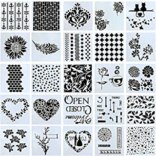 Swpeet 25Pcs Mixed Pattern Hollow Out Painting Stencils Kit, Plastic Planner Stencils Square Shape Journal Stencil for Bullet Journal Painting Craft/Journal/Notebook/Diary/Scrapbook DIY