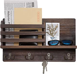 Dahey Wall Mounted Mail Holder Wooden Mail Sorter Organizer with 4 Double Key Hooks and A..