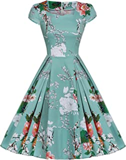 Women's 1950s Cap Sleeve Swing Vintage Floral Party Dresses Multi Colored