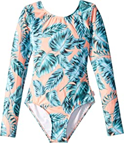 Native Jungle Long Sleeve Cut Out Surf Tank One-Piece (Little Kids/Big Kids)