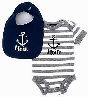 ebbeundflut Maritimes Baby-Set Moin mit Anker - Fair Trade - Babystrampler Moin  Baby Lätzchen Moin, Set Moin Anker von ebbeundflut