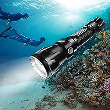 BlueFire XM-L2 Dompellamp, zaklamp, 1200 lumen, professioneel licht, waterdicht, veilig, onderwaterlamp met polsriem