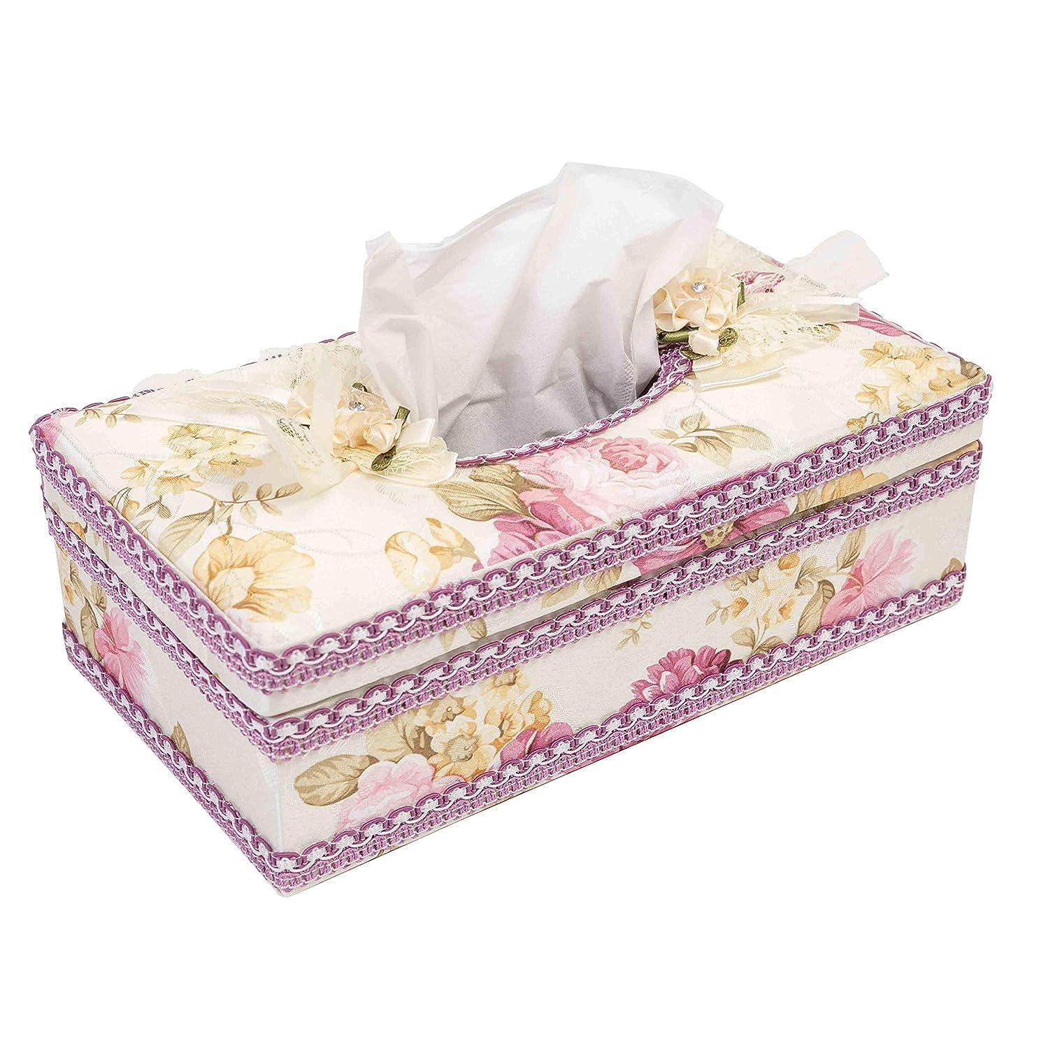 ロータリー見捨てられた到着する花柄 ティッシュケース エレガント ティッシュボックス インテリア 収納 ケース (パープル タイプ)