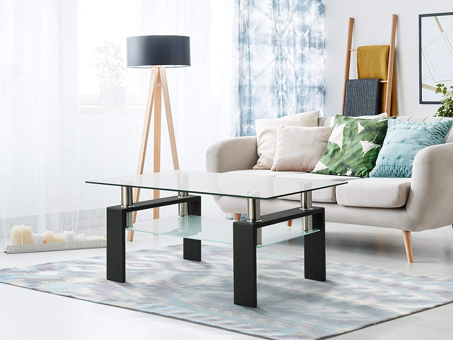 HOTYARD Rectangular Glass Coffee Table Shelf Storage with Don't miss the campaign Complete Free Shipping Lower