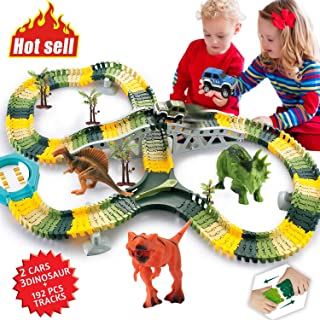 HOMOFY Dinosaur Toys 192Pcs Race Car Flexible Track, Create a Road,3 Dinosaurs,2 Cars Vehicle Playset,Perfect Birthday Toys for 3 4 5 6 Year Old Boys and Girls Kids