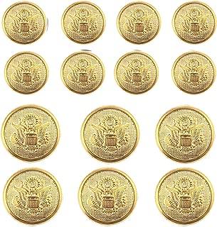 14 Pieces Metal Blazer Button Set - Eagle Badge - for Blazer, Suits, Sport Coat, Uniform, Jacket (Gold 15mm 20mm