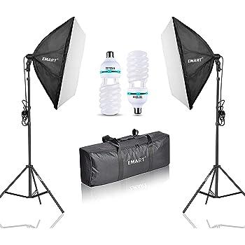 MVPOWER Set Illuminazione per Studio Fotografico con Sfondo da 3 Colori Nero// Bianco// Verde 3/×1.6m con Kit Softbox e Stativo GreenScreen