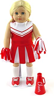 American Fashion World Red Cheerleader Outfit Cheerleading Uniform with Dress, Bloomers, Poms, Megaphone, Socks, and Shoes fits 18 inch Doll