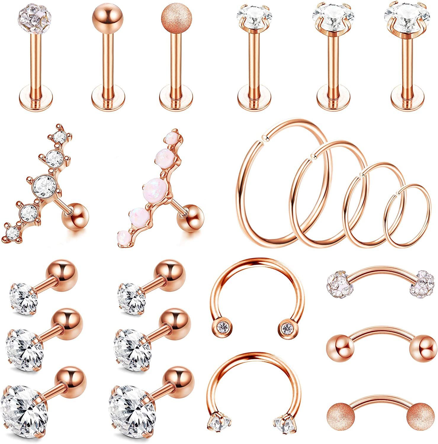 Drperfect 16G Cartilage Earring Hoop Stud for Women Forward Helix Rook Daith Conch Tragus Ear Piercing Jewelry