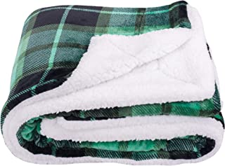 SOCHOW Sherpa Plaid Fleece Throw Blanket, Double-Sided Super Soft Luxurious Bedding Blanket 60 x 80 inches, Green