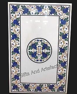 Mesa rectangular de mármol blanco sofá mesa de mármol patio mesa de café utilizando lapislázuli y malaquita piedras precio...