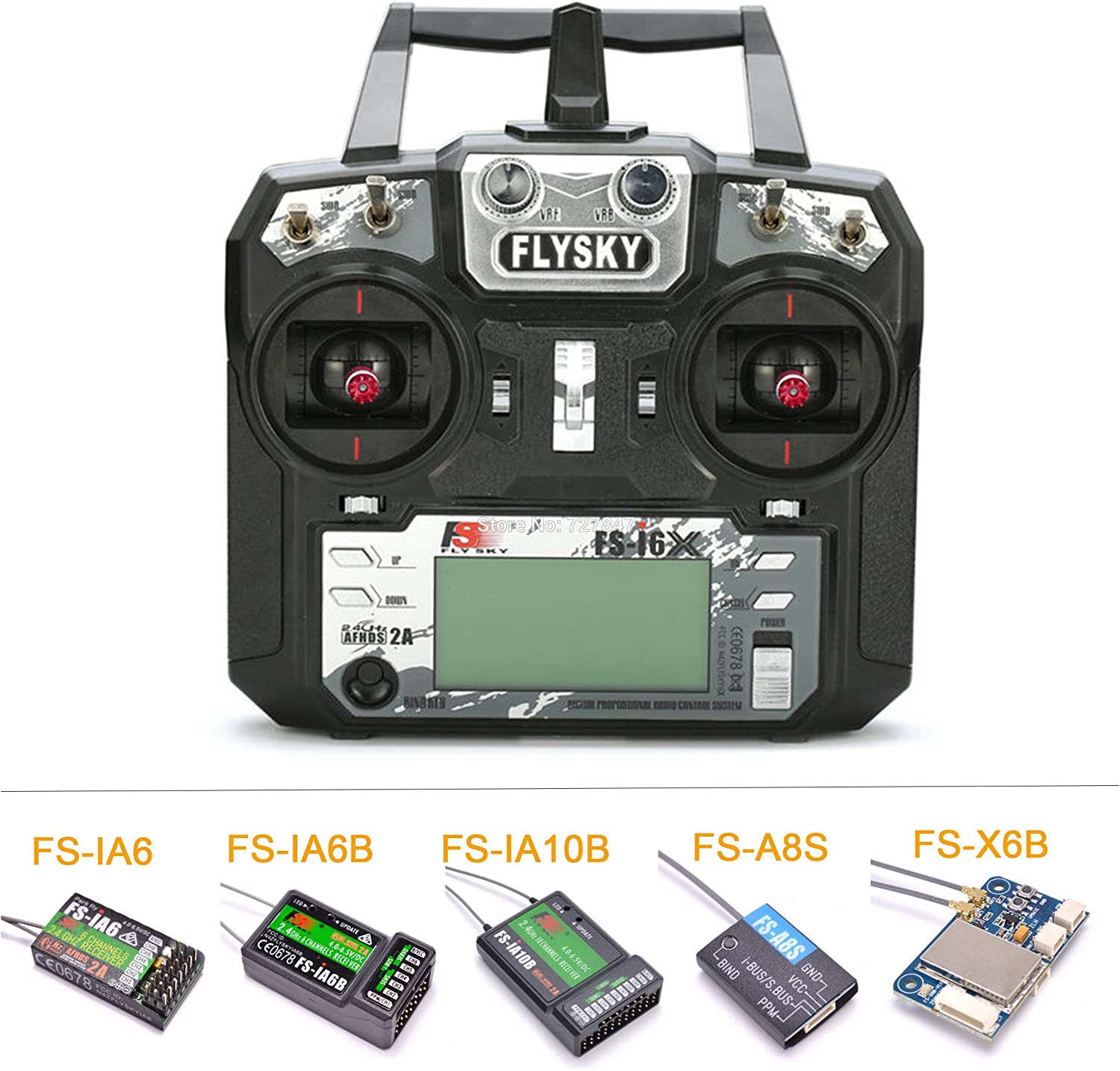 Laliva Flysky FS-i6X I6X 2.4GHz 10CH AFHDS 2A RC Transmitter with FS-iA6B   FS-iA10B   FS-X6B  FS-A8S   FS-IA6 Receiver for RC Airplane - (color  Only X6B Receiver)
