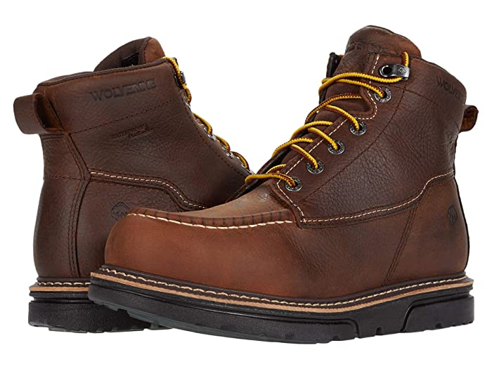 Wolverine  I-90 DuraShocks Moc-Toe 6 Work Boot (Brown) Mens Work Lace-up Boots