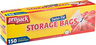 ProPack Disposable Plastic Storage Bags with Original Twist Tie, 1 Gallon Size, 150 Bags, Great for Home, Office, Vacation, Traveling, Sandwich, Fruits, Nuts, Cake, Cookies, Or Any Snacks (1 Packs)