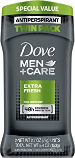 Dove Men+Care Antiperspirant Deodorant, Extra Fresh 2.7 oz (Twin Pack)