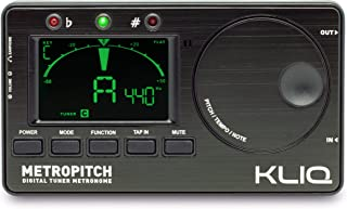 KLIQ MetroPitch - Metronome Tuner for All Instruments - with Guitar, Bass, Violin, Ukulele, and Chromatic Tuning Modes - Tone Generator - Carrying Pouch Included, Black