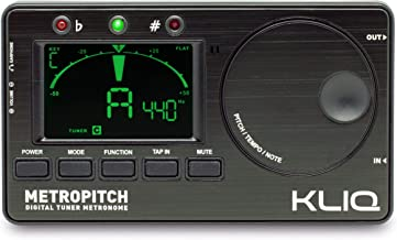 KLIQ MetroPitch - Metronome Tuner برای همه ابزارها - با گیتار، باس، ویولن، Ukulele، و حالت های تنظیم رنگی - ژنراتور تن - کیف حمل شامل سیاه