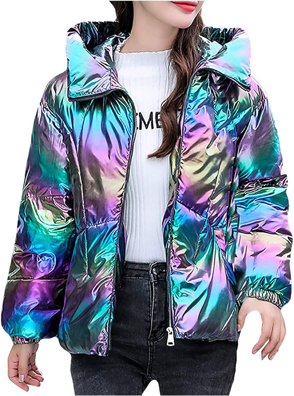 Giulot Quilted Down Jacket for Women Winter Short Coats Puffer Jacket Metallic Shiny Ultra Lightweight Padded Coat Outerwear