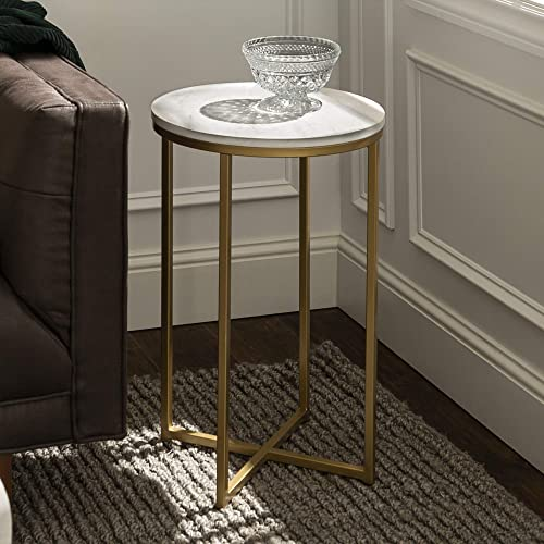"WE Furniture 16"" Round Side Table - Faux Marble/Gold"