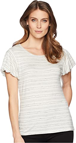 Bubble Sleeve Melange Stripe Top