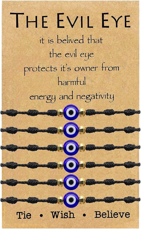 Evil Eye Bracelet 7 Knot Lucky Bracelets Adjustable Kabbalah String Bracelet for Women Men Family Fits Adult