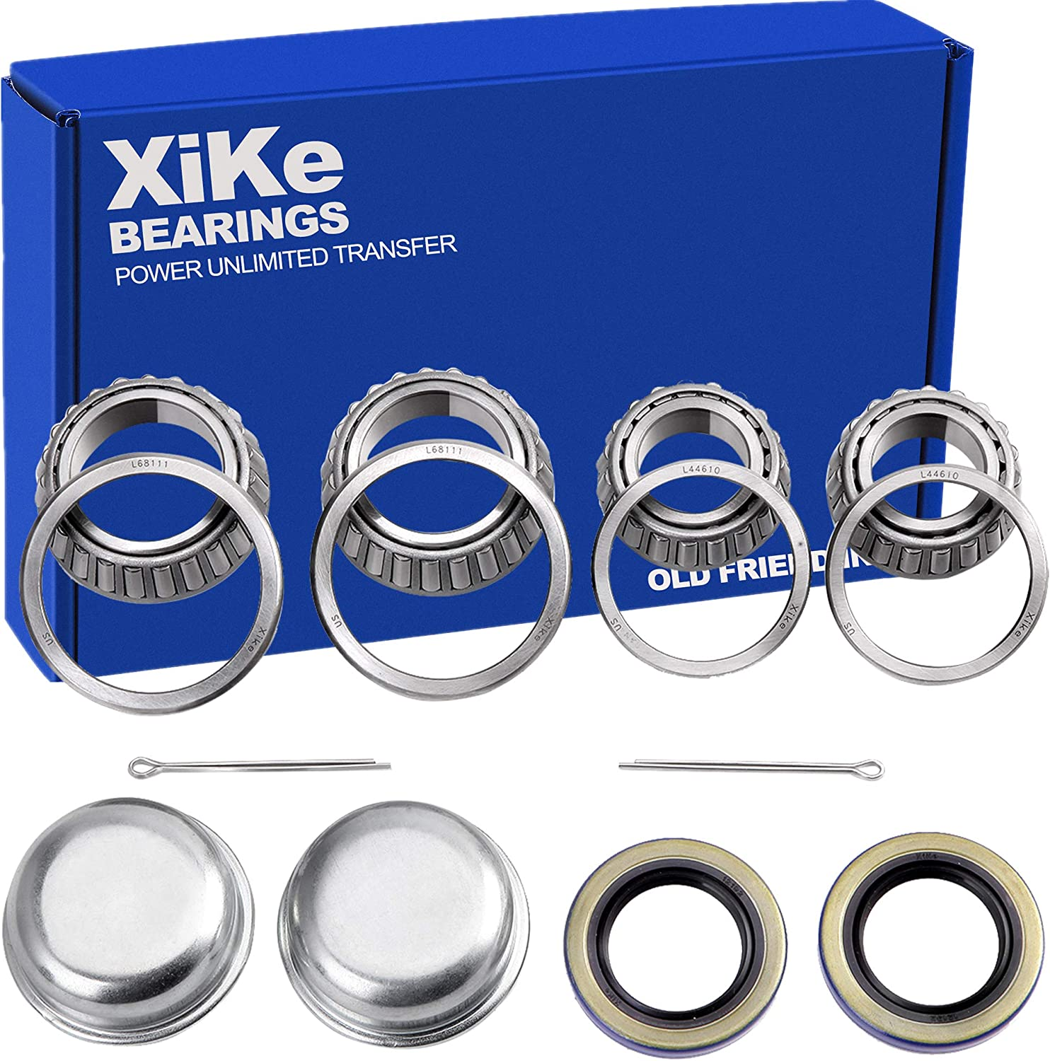 XiKe 2 Set Trailer Axle Hub Bearings Wheel Kit for Spindle 13 8'' to 11 16'' inch, redary Quiet and Durable. L68149 L68111 and L44649 L44610, 171255TB Seal OD 1.719'', Dust Cover and Cotter Pin.
