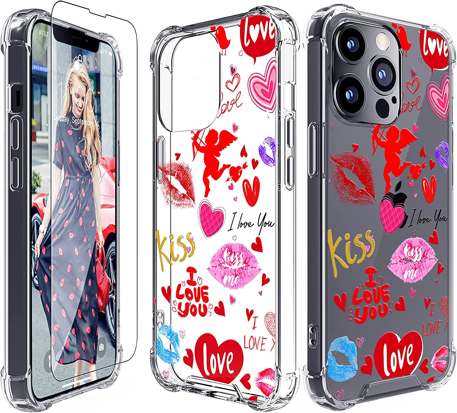 Rhinenet Slim Case Compatible for iPhone 13 Pro Max Embossed Clear Cute Soft Phone Cover Shockproof Bumper Hybrid Fashion Women Girl Lip Print Love Kiss Pattern Protective Back Shell+Screen Protector