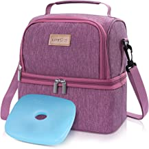 Lifewit 2 Compartment Lunch Box Insulated Lunch Bag Leakproof Thermal Bento Bag for Adults Men Women, 7L, Rosy
