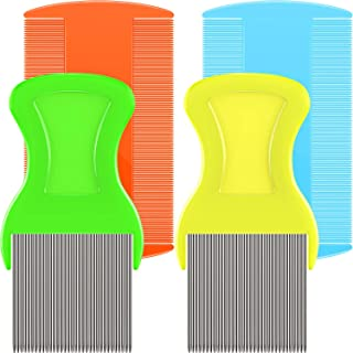 Boao Head Hair Combs Double Sided Plastic Combs Cat Dog Pets Flea Combs Head Lice Combs Fine Tooth Comb 4 Pieces for Grooming and Get Ride of Dandruff Flakes/Nit/Flea
