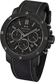 TW Steel Men's Simeon Panda Stainless Steel Quartz Silicone Strap, Black, 24 Casual Watch (Model: TS13)