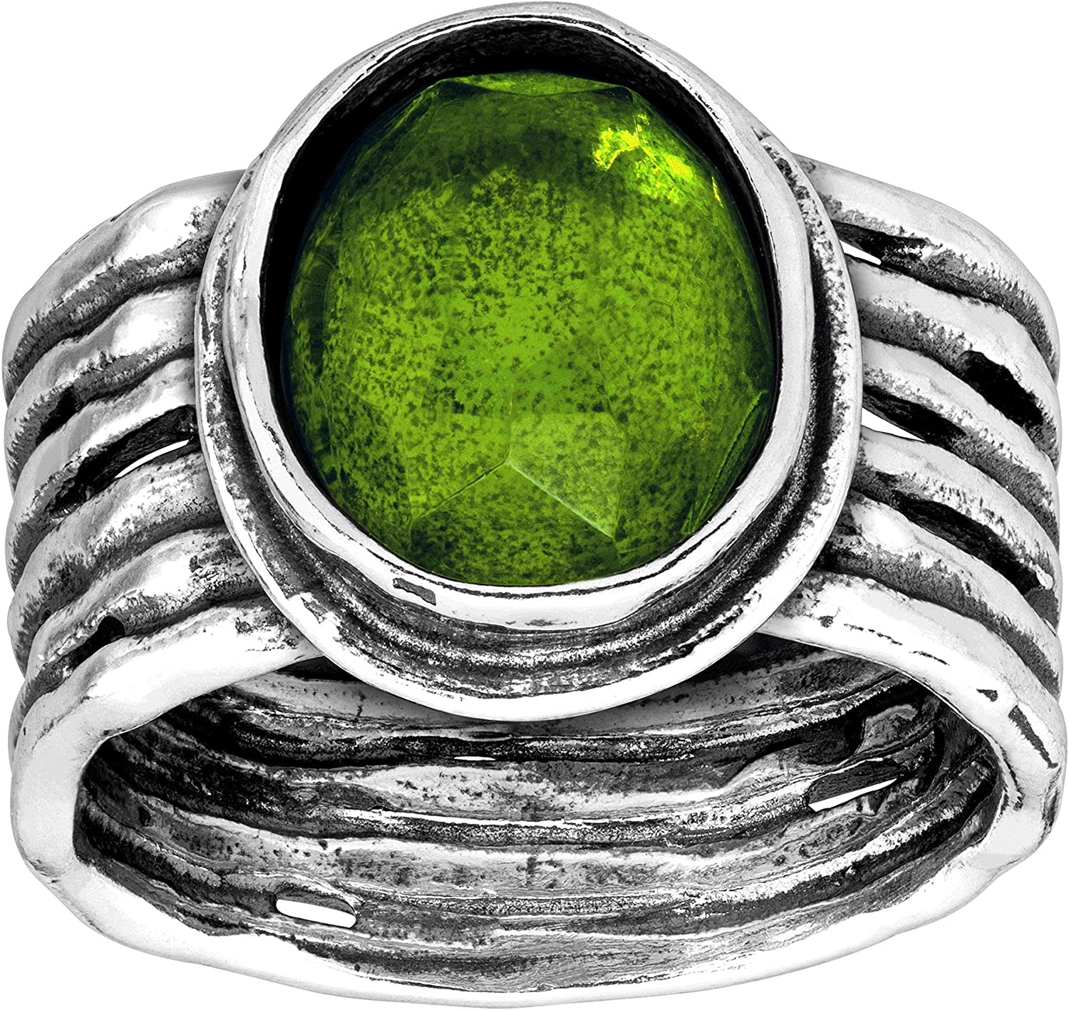 Silpada 'Daintree' Natural Free Shipping New Green Quartz Ring Ribbed Sterling in Fresno Mall